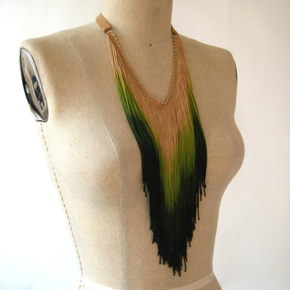 Hand Dip Dyed Green Peacock Fringe and Leather Chain Necklace