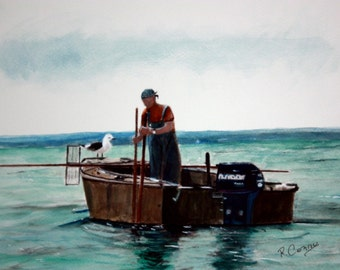 Jersey Shore Clammer -SIGNED PRINTS 8 X 10 - 25.00, 11 x 14 - 30.00, 13 X 19- 35.00. Message me and I will list them for you.