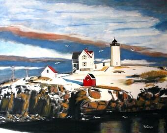 York, Maine on Christmas Morning--  8 x 10 signed print