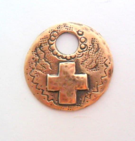 Artisan Rustic Southwest Cross Pendant Finding in True Bronze, Lost Wax Cast