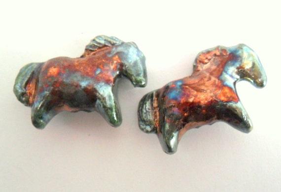 Raku Fired Clay Indian Pony Horse Beads - Set of 2