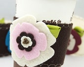 Coffee Cup Cozy -- Pink on Chocolate