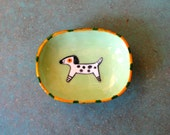 Small Spotted White Dog Dish with Feet - by  Marcia Hovland