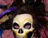 Dia de los Muertos, Feathered Groom Deaths Head, Grim Reaper Mask Adult Costume
