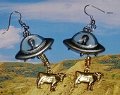 Alien Abduction of Cow Earrings, UFO, Extraterrestrial Jewelry, Flying Saucer