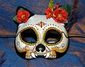 RESERVED Dia de Los Muertos Kitty Cat Mask, Adult Size, Goth Cosplay LARP