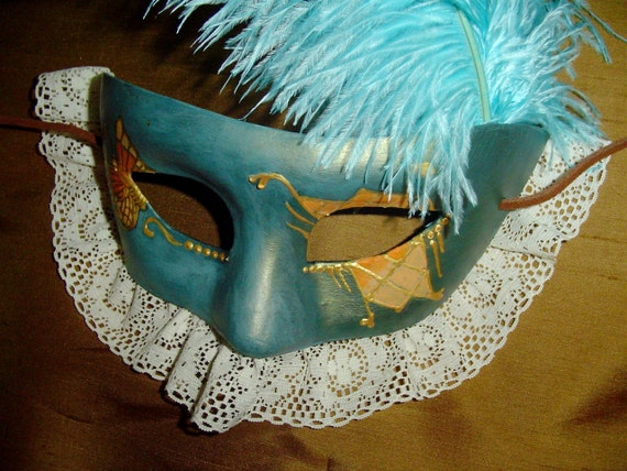 Turquiose Butterfly Mask Adult Size, Halloween Renaissance Fair, Dance, Costume