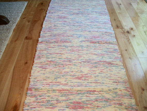 Woven Rag Rug Soft Yellow, Pink, Blue, and Green 52 inches long No Fringe