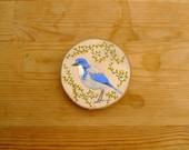 Scrub Jay Original Painting On Wood Slice