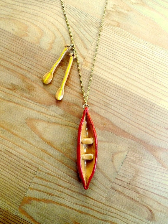 Canoe and Oars Necklace Large