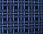 FREE SHIPPING in 2012 (USA only) - Vintage Japanese Cotton Kimono fabric - Indigo Blue and Light Blue Basketweave Pattern - 60 inch lengths