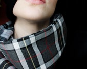 Black, Gray, White and Red Plaid Cowl Scarf