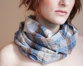 Circle Scarf Blue and Brown Plaid