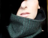 Black Cowl Charcoal with Emerald Stripes