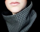 Cotton Cowl in Black and Gray