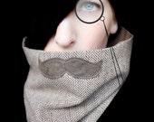 Mustache Scarf Cowl - History Professor Neckwarmer - piprobins