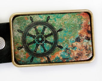 Nautical Belt Buckle Ship's Wheel