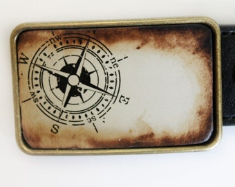 Nautical Compass Brown Bronze Belt Buckle