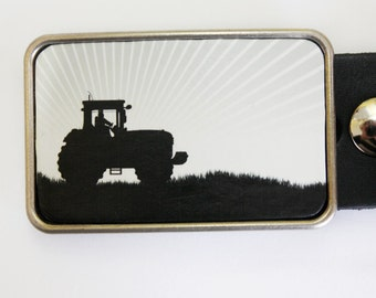 Farmer Tractor Belt Buckle in Black and White