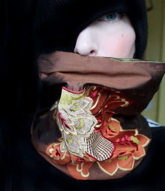 Brown Silk Embroidered Cowl Scarf