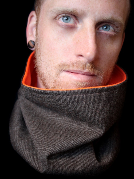 Mens Scarf Hunter Orange and Brown