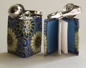 Intricate Floral Pattern in Blue and Cream Miniature Book Clip-On Earrings