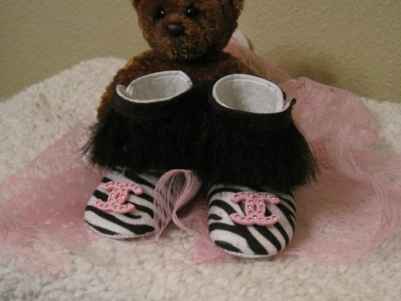 Items similar to Zebra Baby shoes Chanel Ugg inspired