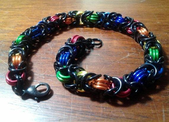 Byzantine Bracelet - Rainbow and Black