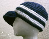 Hand Crocheted Newsboy Hat In Navy Blue and White - Made To Order - Spring Summer Fashion