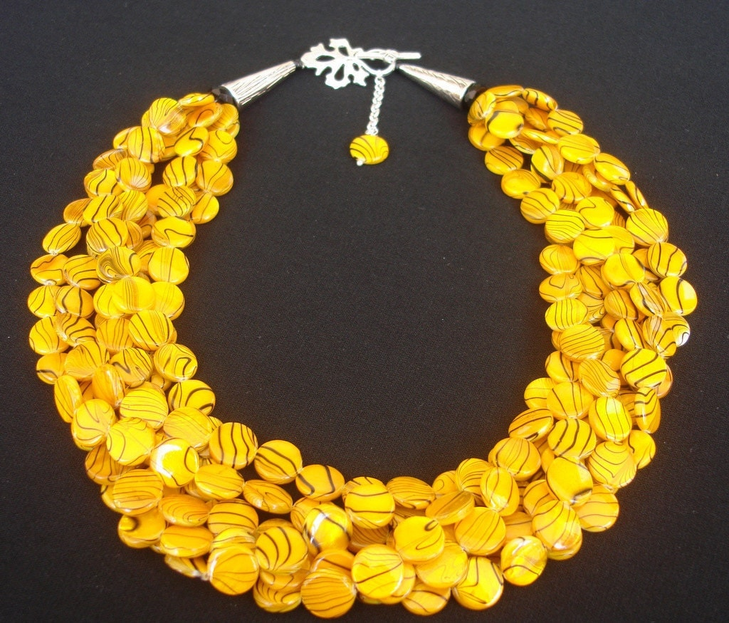 Yellow Statement Necklace Chunky Mother Of Pearls By