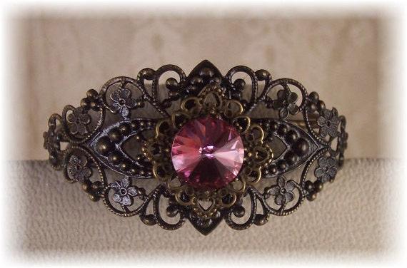 New Vintage Victorian Filigree Rose/Pink Rivoli Swarovski Crystal Cuff Bracelet - BEAUTIFUL