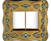 Antique Victorian Arts and Crafts blue zircon belt buckle sash