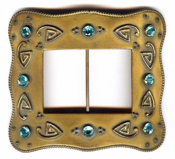 Antique Victorian Arts and Crafts blue zircon belt buckle sash