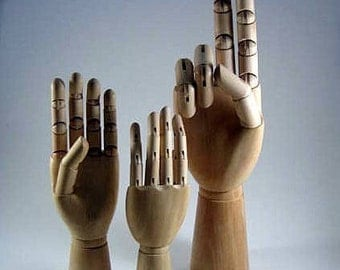SET OF THREE Wooden Mannequin Display Hands mix and match sizes