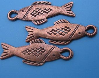 Swimming Copper Fish Charm 3D - SET OF THREE