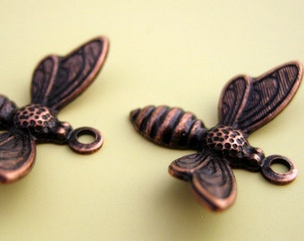 Copper Flying Bee Charm - SIX