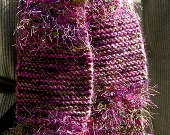 Knit Wool Scarf,  Thick and Warm, Large Flowers and Unique Fringe Loops, Purple Lavender and Green, Unique, Au Couture, One-of-a-Kind