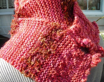 Knit Wool Scarf, Thick Warm and Soft, Burnt Orange and Peach, Unique, Au Couture,Two Strands Artisan Made Yarns