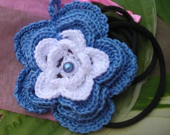 Flower Pendant, French Blue and Snowy White