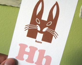 Girls' Animal Alphabet Flash Cards - 3x5 Printable PDF, pink brown