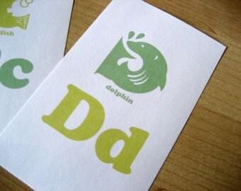 Animal Alphabet Flash Cards - 3x5 Printable PDF - Green, Light Green
