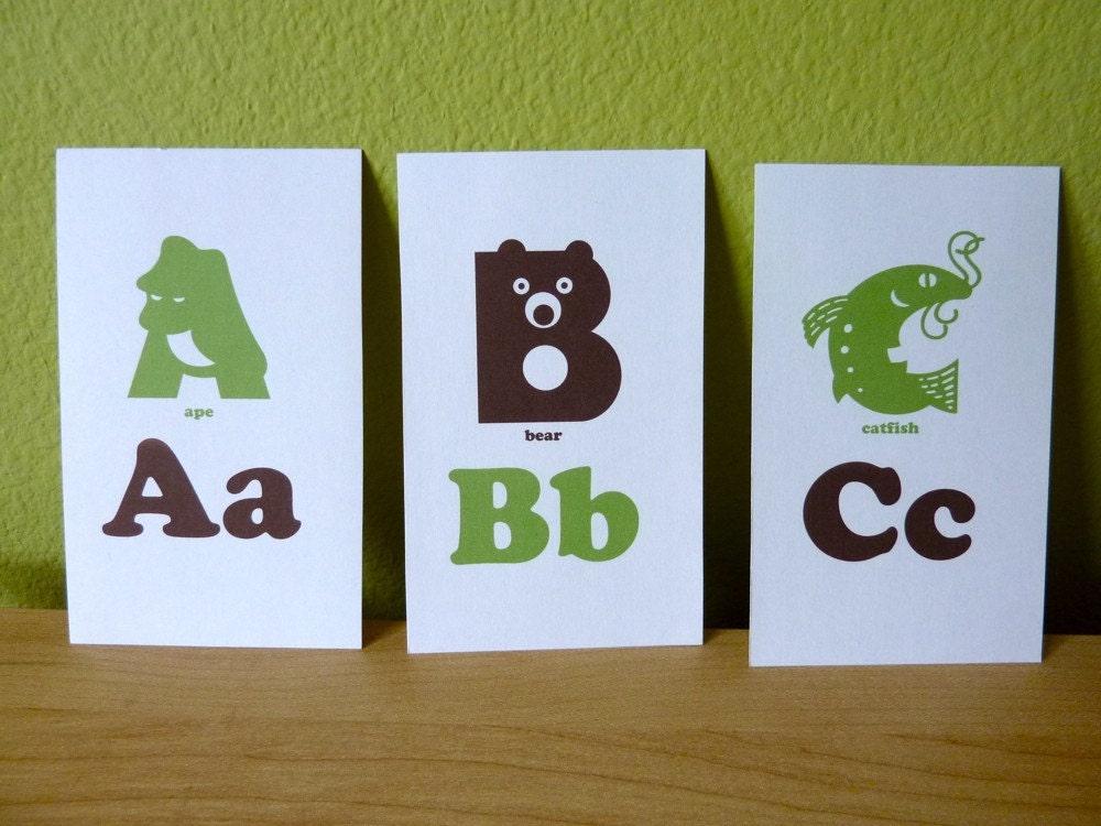 animal alphabet flash cards 3x5 printable pdf green  u0026 brown