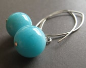 Azure, AA grade Amazonite sterling silver earrings