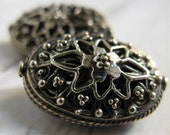 LARGE Silver Filigree Oval Bead Bali Sterling Silver Oxidized Handmade 21x14x10 mm, hole 1mm