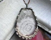 Elegant Stained Glass and Vintage Lace Necklace Soldered Pendant