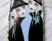 Witches Ladies ... ORIGINAL Hand Painted ON stained glass Rhinestone wall hanging