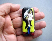 Lily fairy tale .....Original painted fused glass  PENDANT folk art  FOCAL BEAD