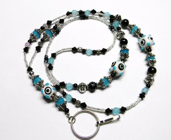 AQUA Dots Beaded Lanyard ID Badge Holder Keyholder Necklace / teacher / nurse / student / Leash