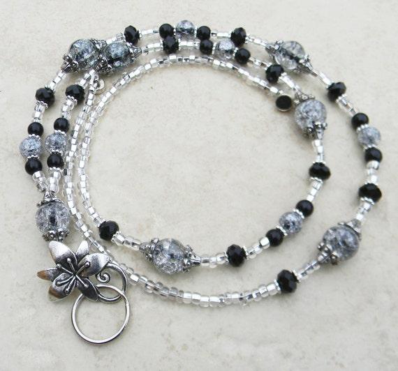 Black Crystal Crackle Lanyard ID Badge Holder Strong MAGNETIC Breakaway or Eyeglass Leash SRAJD