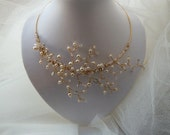 RESERVED for CINDI - A dream comes true - Love Letter /4, branches pearly wedding bridal necklace and matching earrings